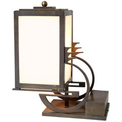Art Deco Haagse School Bronze Table Lamp by C. J. Gellings, 1920s