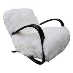 Art Deco Halabala Armchair with Fur Upholstery