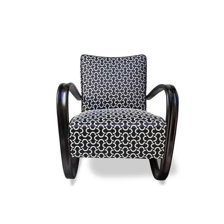 Italian Art Deco Halabala Black Armchair For Sale