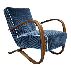 Art Deco Halabala Blue Armchair