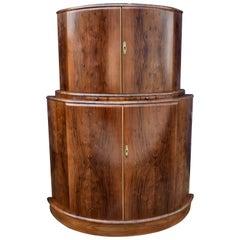 Art Deco Half Circle Walnut Drinks Dry Bar Cabinet, circa 1930s