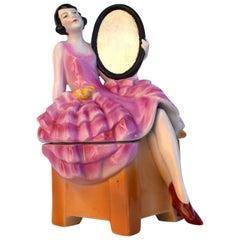 Art Deco Half Doll Powder Box, 1930s