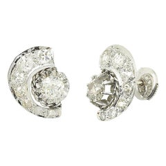 Art Deco Half Moon 1.50 Carat Diamond Platinum Earrings