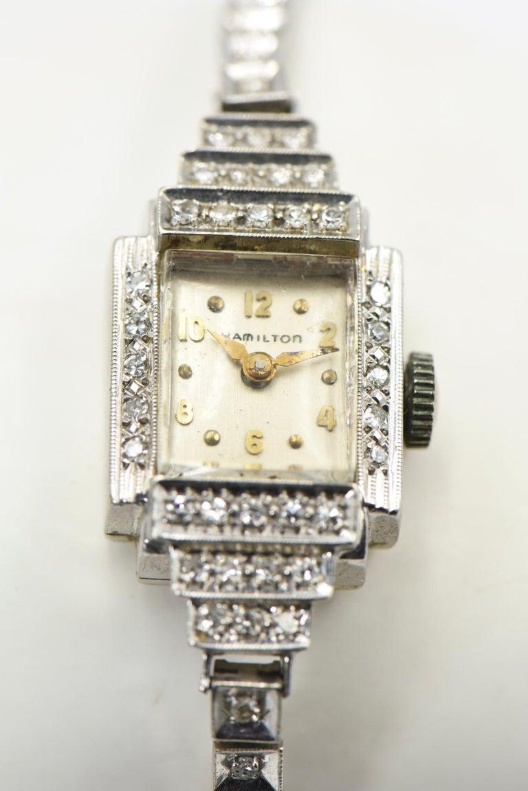 Art Deco Hamilton Ladies Diamond White Gold Dress Watch For Sale 6