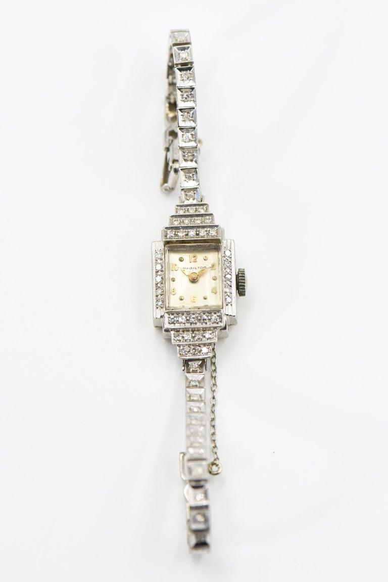 Art Deco Hamilton Ladies Diamond White Gold Dress Watch In Good Condition For Sale In Miami Beach, FL