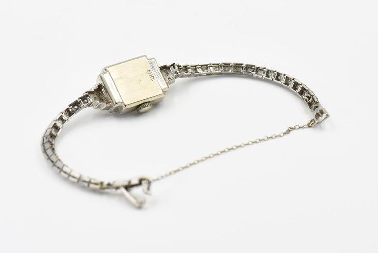 Women's Art Deco Hamilton Ladies Diamond White Gold Dress Watch For Sale
