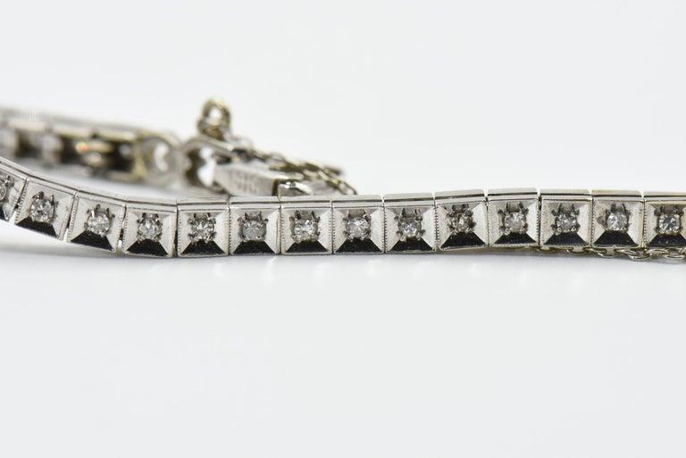 Art Deco Hamilton Ladies Diamond White Gold Dress Watch For Sale 3
