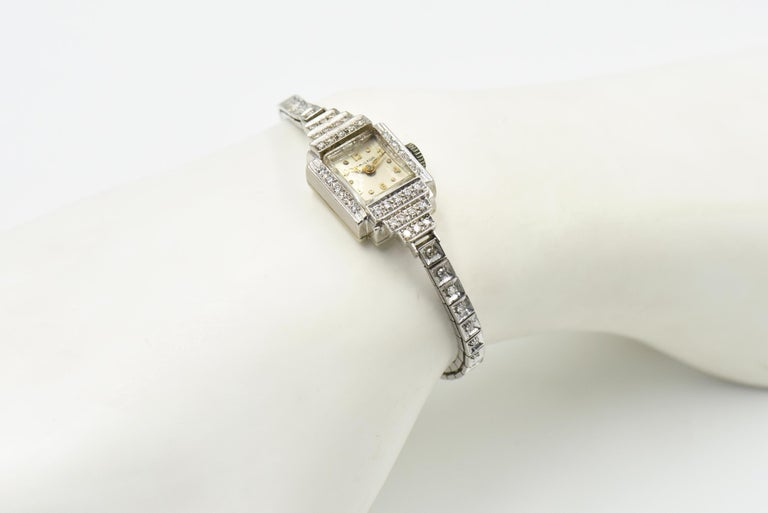 Art Deco Hamilton Ladies Diamond White Gold Dress Watch For Sale 5