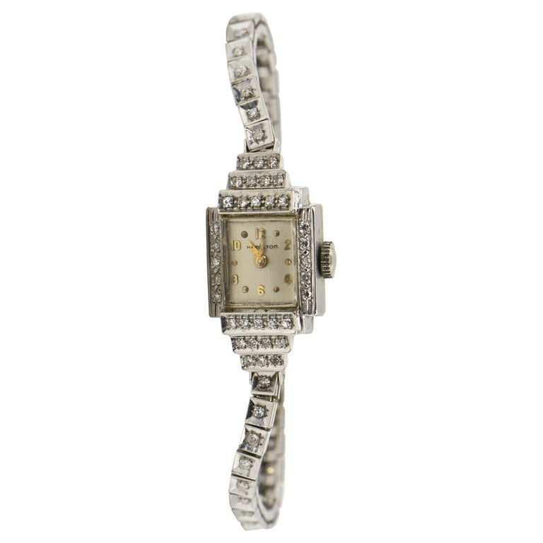 Art Deco Hamilton Ladies Diamond White Gold Dress Watch For Sale