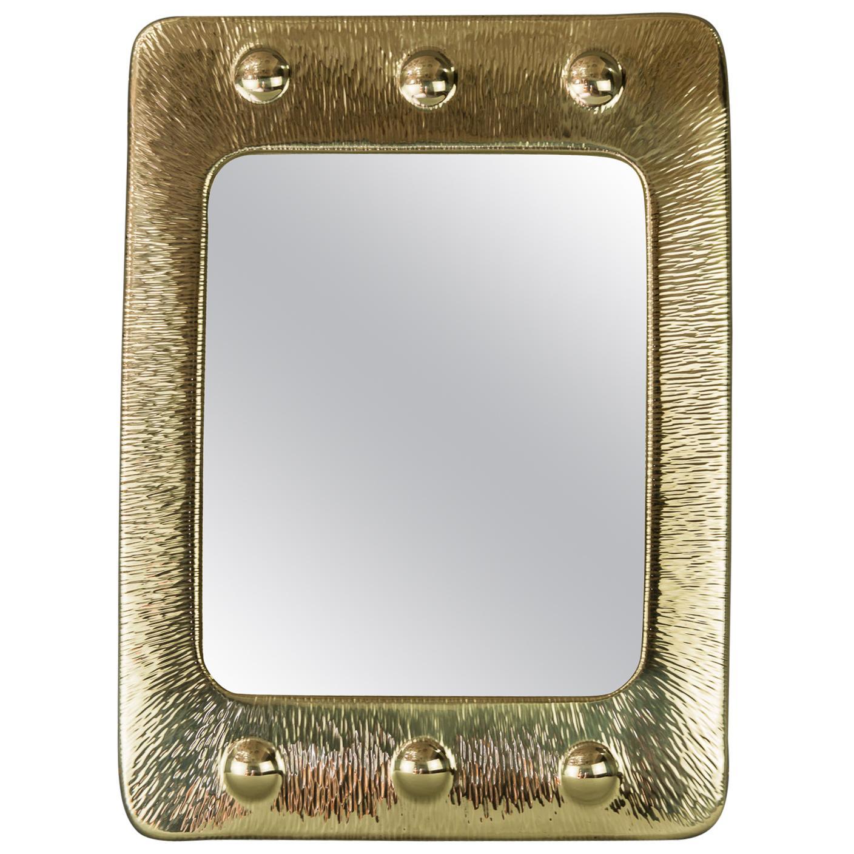Art Deco Hammered Brass Mirror, Vienna, 1920s