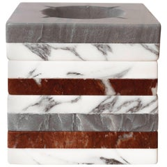 Art Deco Hand Carved Marble Ashtray in Arabescato and Ondascura
