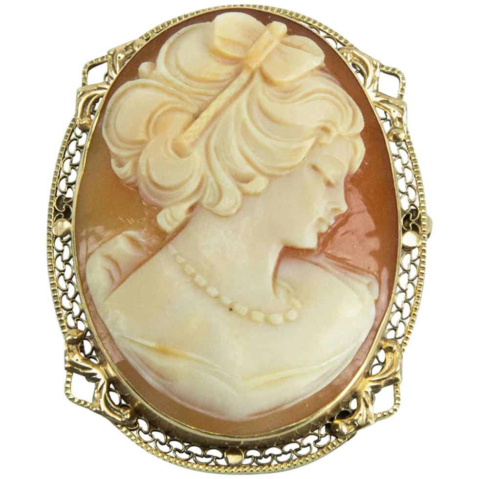 Art Deco Hand Carved Portrait Shell Cameo Gold Pin Pendant Estate Fine Jewelry