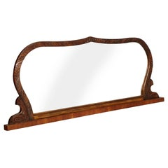Art Deco Hand-Carved Walnut Mirror, Borsani, Bevelled, Wax Polished