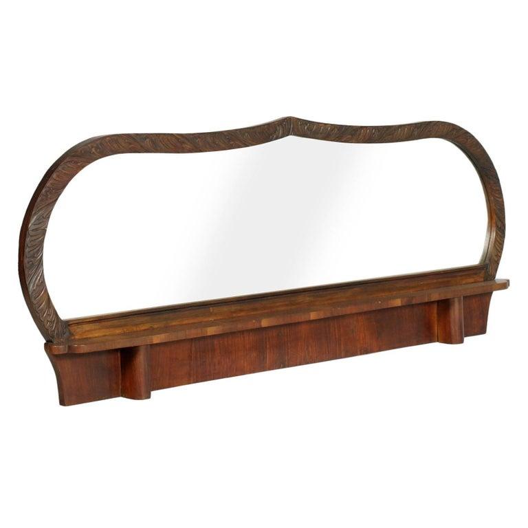 Art Deco Hand-Carved Walnut Mirror by Osvaldo Borsani, Bevelled with Shelf