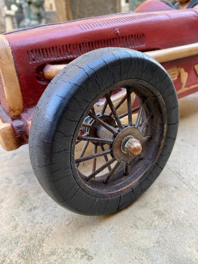 Art Deco Hand Carved Wood Toy Race Car Model Miniature Folk Art Antique Bibelot In Good Condition For Sale In West Hollywood, CA