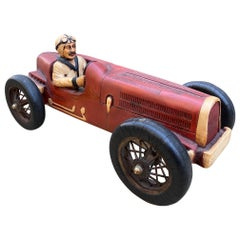Art Deco Hand Carved Wood Toy Race Car Model Miniature Folk Art Antique Bibelot