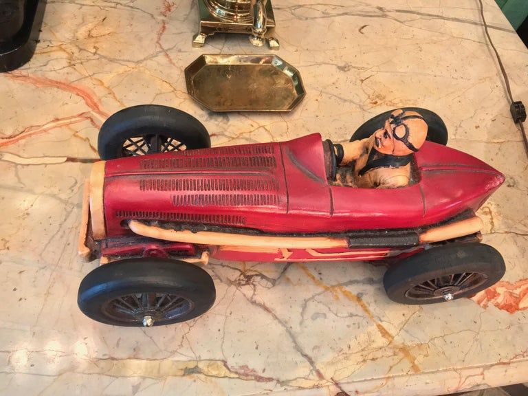 European Art Deco Hand Carved Wood Toy Race Car Model Miniature Folk Art Antiques Bibelot For Sale