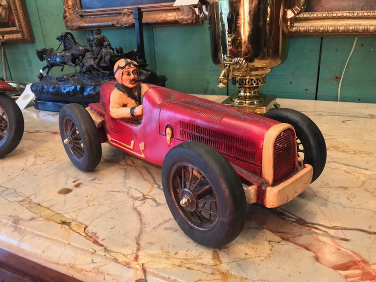 Hand-Carved Art Deco Hand Carved Wood Toy Race Car Model Miniature Folk Art Antiques Bibelot For Sale