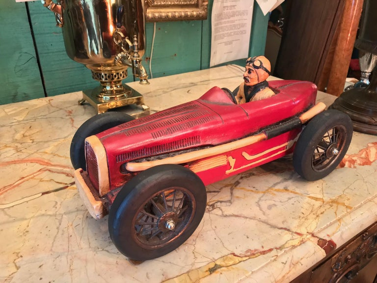 Art Deco Hand Carved Wood Toy Race Car Model Miniature Folk Art Antiques Bibelot In Good Condition For Sale In West Hollywood, CA