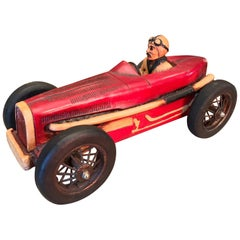 Art Deco Hand Carved Wood Toy Race Car Model Miniature Folk Art Antiques Bibelot