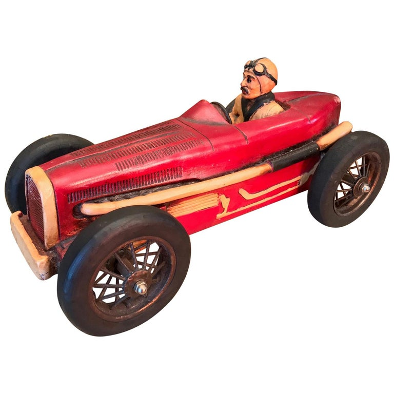 Art Deco Hand Carved Wood Toy Race Car Model Miniature Folk Art Antiques Bibelot For Sale