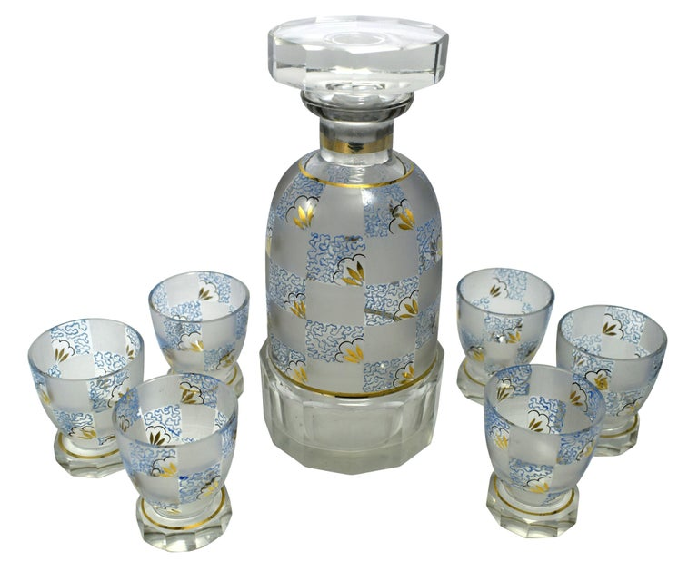 Art Deco Hand Decorated Czech Glass Decanter Set, circa 1930 For Sale 5