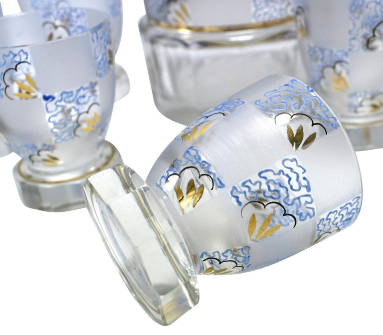 Enameled Art Deco Hand Decorated Czech Glass Decanter Set, circa 1930 For Sale