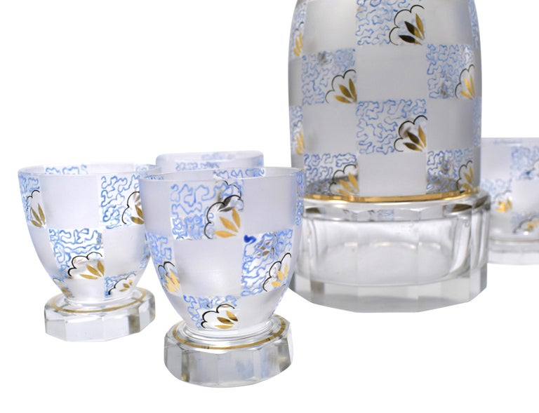20th Century Art Deco Hand Decorated Czech Glass Decanter Set, circa 1930 For Sale