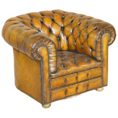 Art Deco Hand Dyed Brown Leather Fully Buttoned Chesterfield Club Armchair