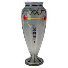 Art Deco Hand Enameled Vase