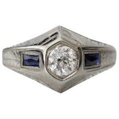 Art Deco Hand Etched .57 Carat Old European Diamond 18 Karat Ring Bluesapphire