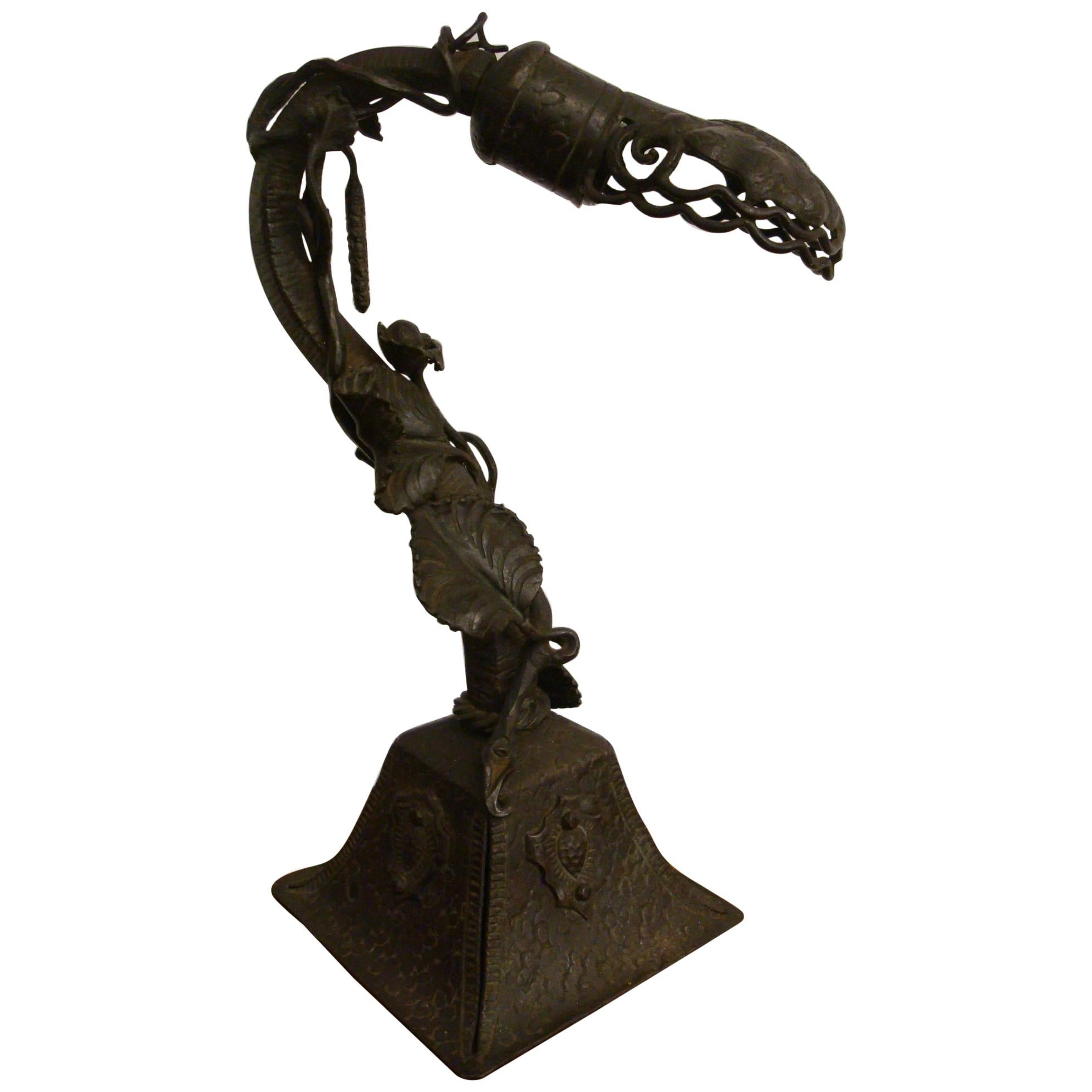 Art Deco Hand Forged Wrought Iron Desk / Table Lamp, France, 1920