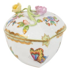 Art Deco Hand Painted Decorative Porcelain Box by Herend of Hungary