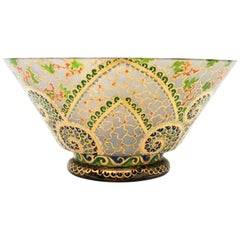 Art Deco Hand Painted Enameled Polychrome & Gold Glass Centerpiece Bowl by Riera