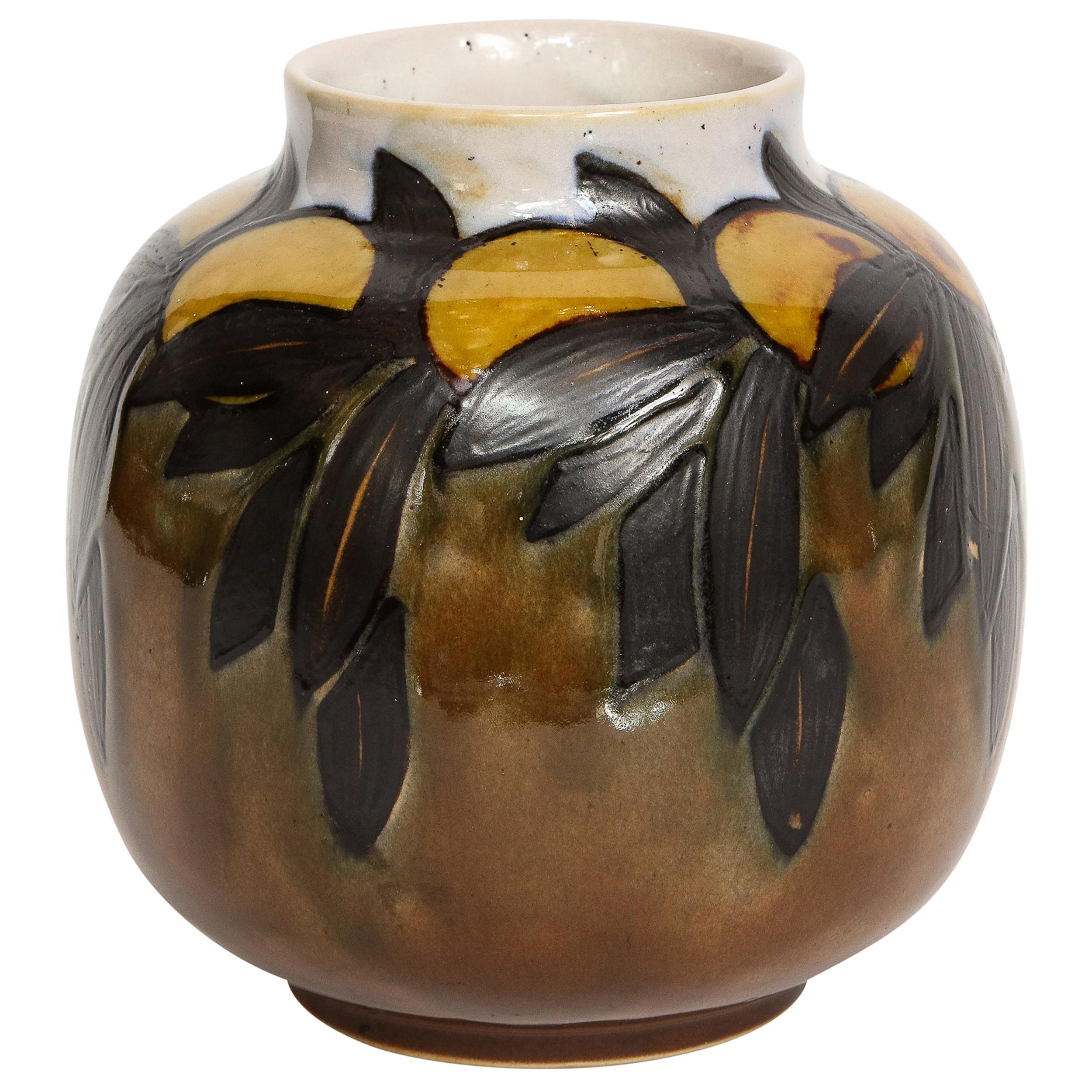 Art Deco Hand Painted Stylized Foliate Glazed Ceramic Vase Signed Royal Doulton