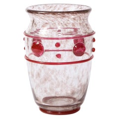 Art Deco Handblown Glass Vase w/ Banded & Circular Garnet Detailing by Daum