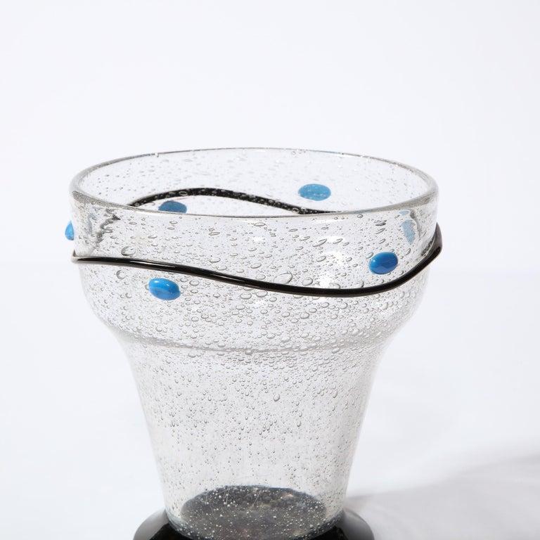 Art Deco Handblown Vase w/ Blue Ovoid & Black Curvilinear Detailing Signed Daum For Sale 5