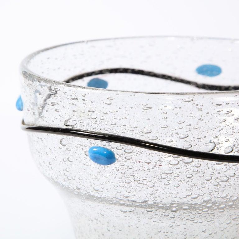 Art Deco Handblown Vase w/ Blue Ovoid & Black Curvilinear Detailing Signed Daum For Sale 6