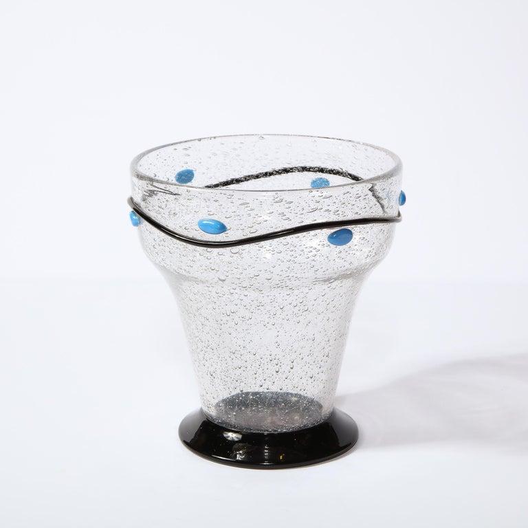 Art Glass Art Deco Handblown Vase w/ Blue Ovoid & Black Curvilinear Detailing Signed Daum For Sale