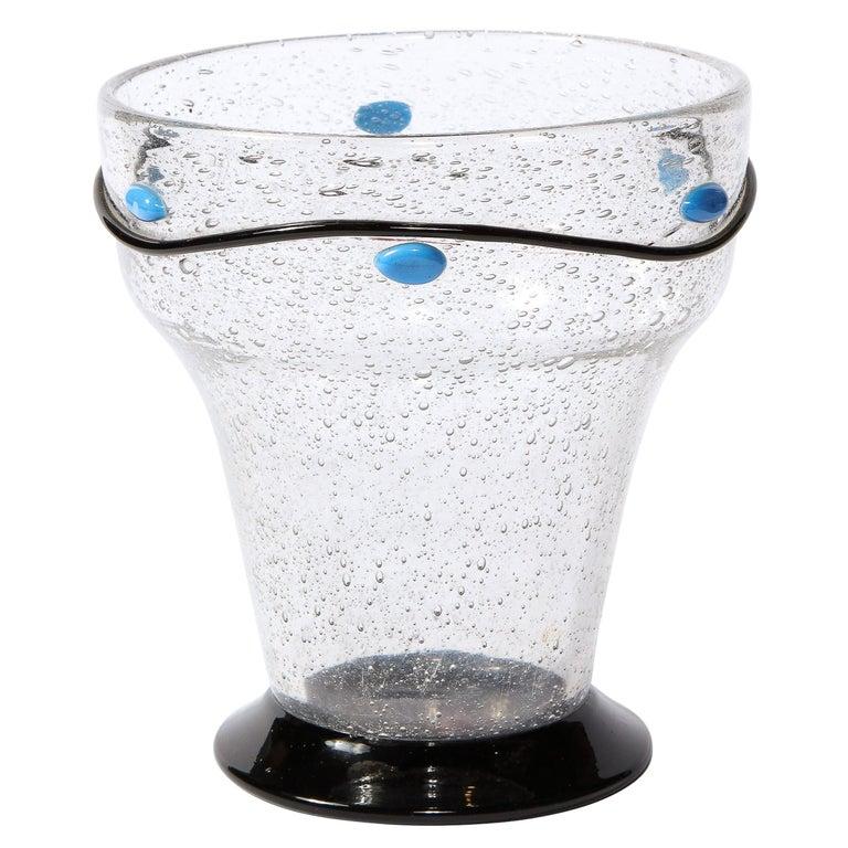 Art Deco Handblown Vase w/ Blue Ovoid & Black Curvilinear Detailing Signed Daum For Sale