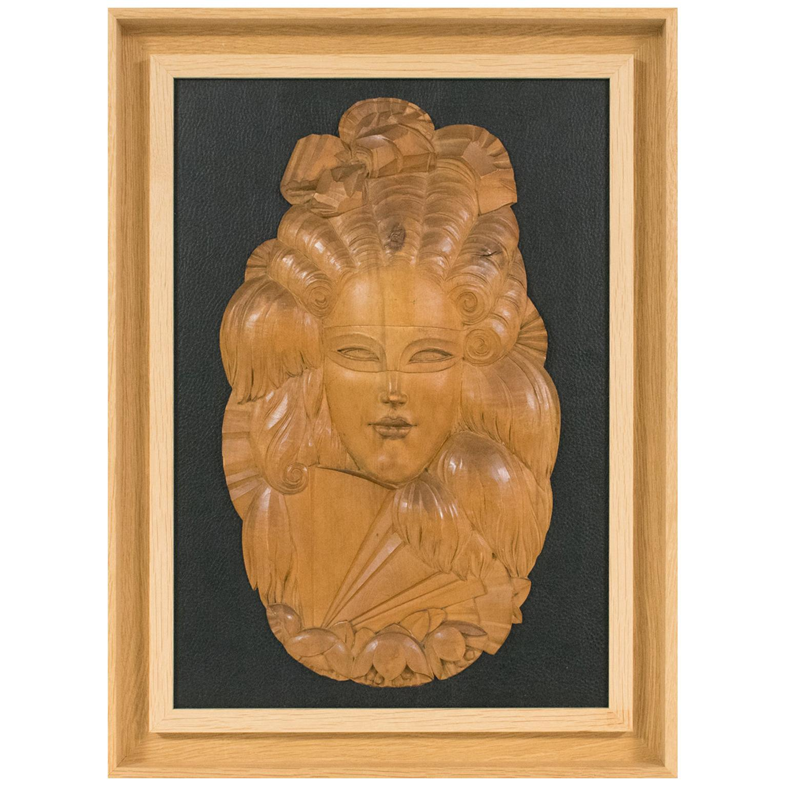 Art Deco Handcrafted Wood Panel Wall Sculpture Venetian Mask