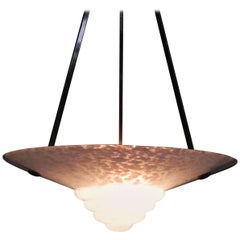 Art Deco Hanging Lamp with Cloudy Glass Shade