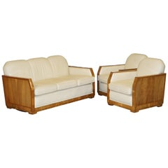 Art Deco Harry & Lou Epstein Walnut & Cream Leather Suite Sofa & Armchairs, Pair