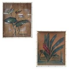 "Art Deco Hawaiian ""Red Ginger"" & ""Anthurium Hawaii"" Print Set in Wood Bamboo Fra"