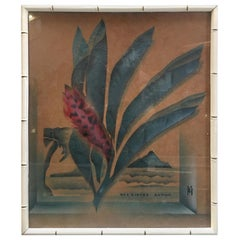 """Art Deco Hawaiian """"Red Ginger"""" Print in Carved Wood Bamboo Frame"""