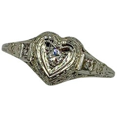 Art Deco Heart Diamond Wedding Engagement Ring 18 Karat White Gold Edwardian