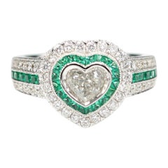 Art Deco Heart Ring Diamonds & Emerald Ring Art Deco Jewelry Heart Diamond