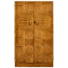 Art Deco Heavily Figured Blonde Walnut Wardrobe, circa 1930