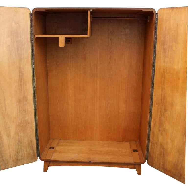 European Art Deco Heavily Figured Double Wardrobe, circa 1930