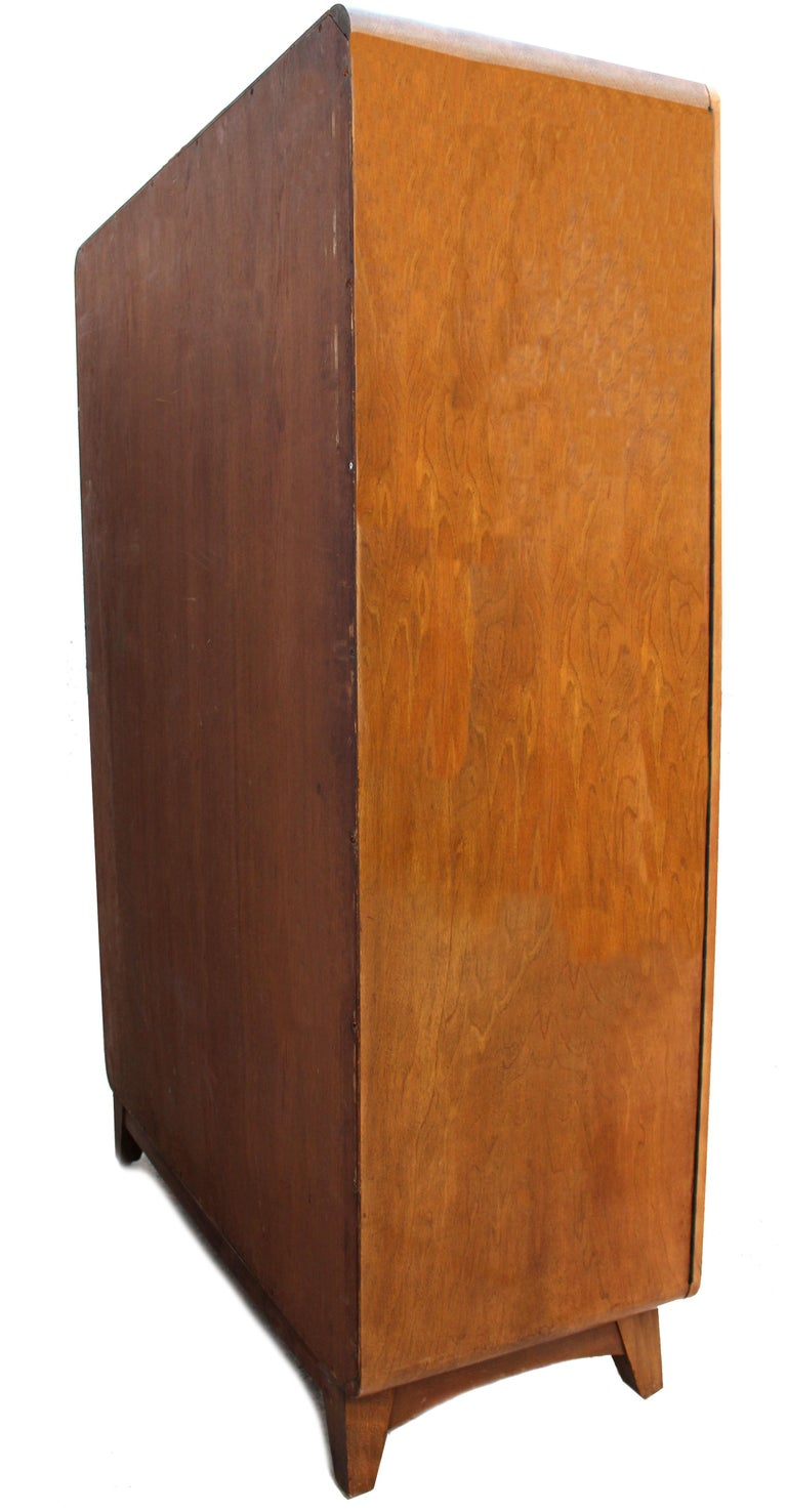 Oak Art Deco Heavily Figured Double Wardrobe, circa 1930